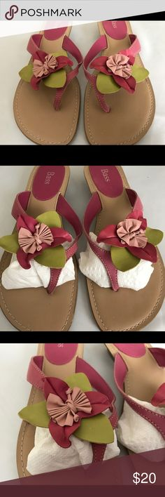 Bass Pink Leather Sandals Sz 8 1/2 Bass Pink Leather Sandals with Flower Top. Made in Brazil. Like New Condition Sz 8 1/2 Bass Shoes Sandals