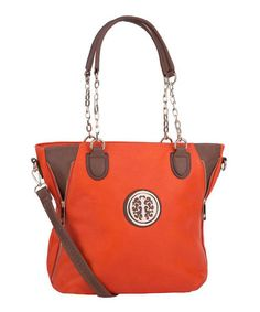 Another great find on #zulily! Orange & Goldtone Crossbody Tote by MKF Collection #zulilyfinds