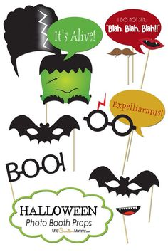 Free Printable Halloween Photo Booth Props. Perfect for parties or for hamming it up before trick-or-treating!