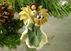 Knitting Angel Ornament, Polymer Clay Christmas Ornament