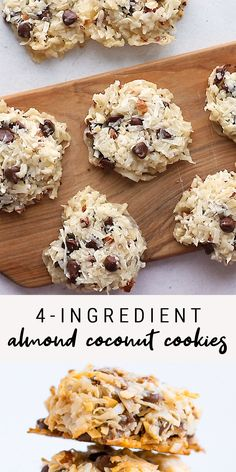 These almond coconut cookies so easy to whip up — you only need four ingredients and they're so delicious. No one will guess they're vegan and gluten-free. meals for 4 Ingredient Almond Coconut Cookies Cookies Sans Gluten, Dessert Sans Gluten, Cookies Vegan, Almond Cookies, No Bake Coconut Cookies, Vegan Coconut Cake, Tasty Cookies, Coconut Flour Recipes, Healthy Cookies