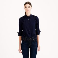 love the styling of the outfit - sleeves rolled, buttoned all the way up, tucked into jeans. Stretch perfect shirt - Suiting Shirts - Women's suiting - J.Crew