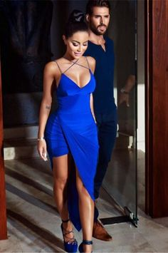 Blue Cross Strap Backless Asymmetric Women Bodycon Dress