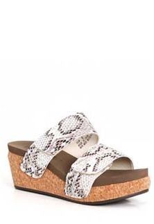 dda8f079b482 Boutique+by+Corkys+Shaw+Double+Band+Snake+Wedges+for+Women +in+Black+and+White+30-5314-BLK WHT