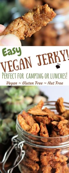 This easy vegan jerky is gluten free, full of flavor, and packed with plant protein! It works great to pack in school lunches or carry along in your bag for a quick and filling snack. Perfect for hiking and backpacking too! A great vegan camping food! thehiddenveggies.com #vegancamping #vegetariancamping #veganjerky #vegancampingrecipes #vegancampingfood #vegancampingmeals #homemadeveganjerky #soycurls #soycurlsrecipe
