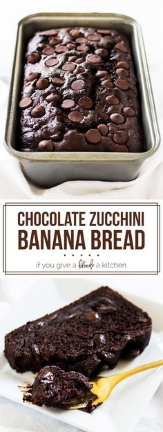 Chocolate zucchini banana bread is dense and moist. Filled with chocolate chips, it's the perfect bread to eat any time of day! | www.ifyougiveablondeakitchen.com Just Desserts, Delicious Desserts, Dessert Recipes, Yummy Food, Baking Recipes, Tapas Recipes, Crab Recipes, Baking Desserts, Dessert Bread