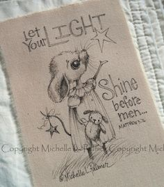 Original Pen Ink Fabric Illustration Quilt Label by Michelle Palmer Mouse Critter Teddy Love Scripture August 2014