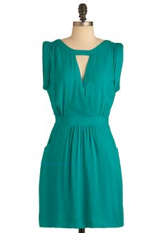 Let's Talk Tapas Dress - Mid-length, Green, Solid, Cutout, Pockets, Party, Sheath / Shift, Sleeveless