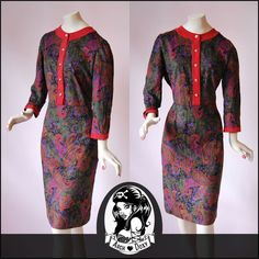 Vintage Paisley Knitted Bat Wing Wiggle Pencil Dress - http://www.ebay.co.uk/itm/Vintage-Paisley-Knitted-Bat-Wing-Wiggle-Pencil-Dress-Button-Band-Size-12-/281924849535?