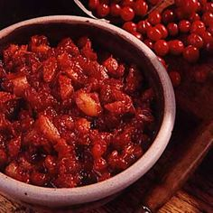 Winning Cranberry Chutney Recipe - with apricots, corn syrup, etc Cranberry Chutney Recipe, Cranberry Relish, Cranberry Recipes, Chutney Recipes, Sauce Recipes, Relish Recipes, Thanksgiving Recipes, Holiday Recipes, Thanksgiving 2016
