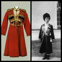 "Photos ~ The uniform and Tsarevich Alexei Nikolaevich Romanov of Russia wearing the uniform. ""AL"""
