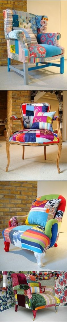 DIY Renovation of Old chair. Kind of love the idea of a patchwork chair (I'd just tone it down some)