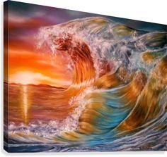Fantasy, seascape,waves,ocean,sunset,sunrise,colorful,orange,painting, decor,wall art, canvas print, artwork,for sale,pictorem