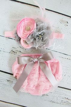 Pink and Gray Lace Diaper Cover and Headband Pink by KutieTuties!! Love this