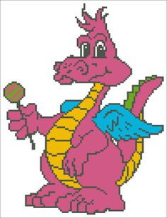 Cute Dragon Embroidery Picture - Instant Download Cross Stitch Embroidery Pattern - Gift for Kid
