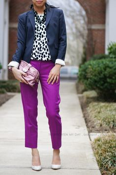54 Casual Outfits That Will Make You Look Cool outfit fashion casualoutfit fashiontrends Purple Pants Outfit, Purple Outfits, Blouse Outfit, Fall Outfits, Cute Outfits, Fashion Outfits, Work Outfits, Fashion Pants, Business Casual Outfits