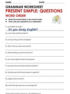 English Grammar Present Simple: Questions - Word Order… English Grammar For Kids, English Grammar Rules, Teaching English Grammar, English Worksheets For Kids, English Lessons For Kids, English Writing Skills, English Verbs, Learn English Words, English Vocabulary