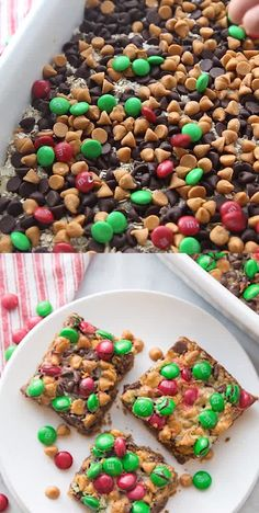 These Cookie Bars are SO easy to make and perfect for the Holidays! Make these for a Christmas Party or celebrating with friends and neighbors! The perfect addition to your Christmas Dessert Table! Holiday Cakes, Holiday Desserts, Holiday Baking, Holiday Treats, Holiday Recipes, Christmas Dessert Recipes, Holiday Parties, Christmas Party Food, Christmas Sweets