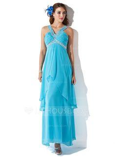A-Line/Princess V-neck Ankle-Length Chiffon Holiday Dress With Beading Cascading Ruffles (020025956) - JJsHouse