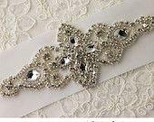 Rhinestone applique, crystal applique, beaded wedding beaded patch for DIY wedding accessories. Nr 10. $19.99, via Etsy.