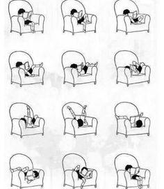 책 읽는 다양한 자세