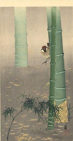 Tree sparrow and bamboo - Koson Ohara