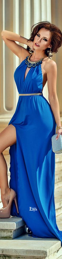 Definitely won't be sticking my leg out like that....but gorgeous color & neckline!