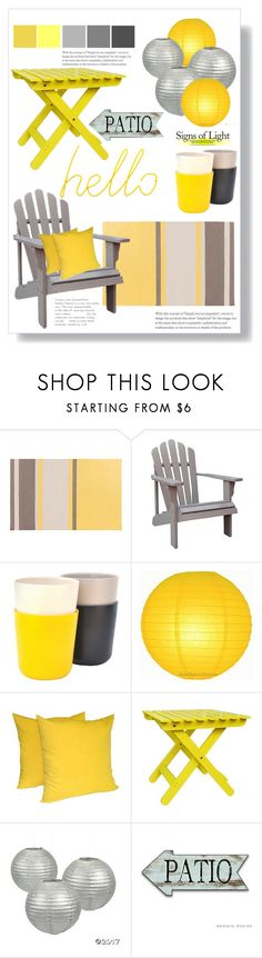 """""""Yellow & Grey Patio"""" by rehtaeh69 ❤ liked on Polyvore featuring interior, interiors, interior design, home, home decor, interior decorating, Shine Company, Ekobo and Block"""