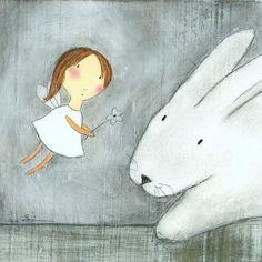 PRINT  Fairy with Bunny by carlasonheim on Etsy, $20.00
