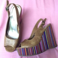 """Colorful peep toe side buckle wedges Madden Girl """"Gabby"""". Perfect used condition. Beautiful array of colors on the platform wedge heel. The faux leather upper is a brown-washed color. Dress these up or down! Very versatile. I will respond to offers made via the offer button. Madden Girl Shoes"""