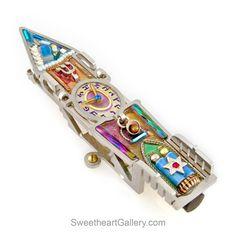 Clock Tower Mezuzah 1450450 by Seeka, Hand Painted, Stainless Steel, Austrian Crystal, Beads, Artistic Artisan Judaica