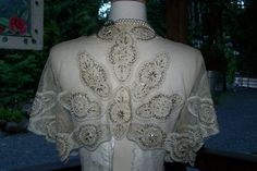 ExQuisit Antique 1800s Argentan Hand Embroidered Lace and Beaded Net Bolero capelet Edwardian Bridal- Museum. $325.00, via Etsy.