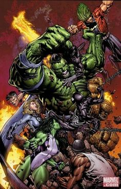 The Hulk vs Fantastic Four by David Finch