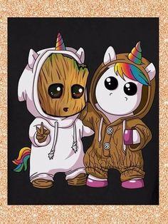 Baby Groot [as a unicorn] & une licorne [as Baby Groot] (Dessin par inconnu) . Cute Disney Drawings, Cute Animal Drawings, Kawaii Drawings, Cute Drawings, Drawing Animals, Cute Disney Wallpaper, Cute Cartoon Wallpapers, Baby Groot Drawing, Baby Drawing