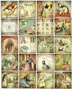 These vintage 'ABCs' and Story Blocks would be charming on a heritage childhood layout.