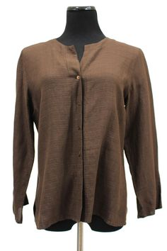 Eileen Fisher Chocolate Brown Button Down Tunic Blouse Size S