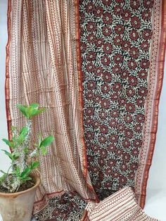 c2bb3be279 Traditional bagru print red party wear chanderi suit set with chanderi  dupatta and cotton bottom.