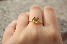 Citrine Ring - Vermeil Gold, $57