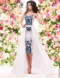 """Купить """"Гжель"""" платье А-ля Русс в макси длине - платье на выпускной - однотонный"""