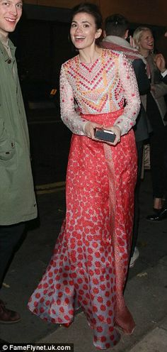 Atta girl: Hayley Atwell stood out thanks to this flowing sequinned ensemble