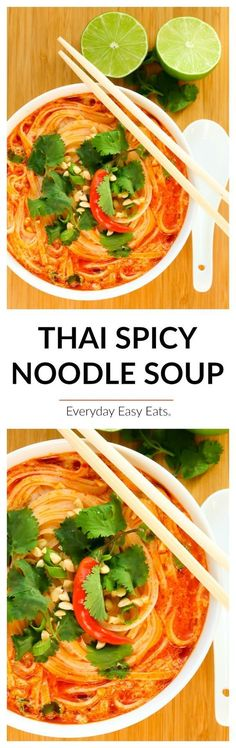 This easy Thai Spicy Noodle Soup recipe is quick, hearty and infused with fragrant Thai flavors. A soul-warming soup that This easy Thai Spicy Noodle Soup recipe is quick, hearty and infused with fragrant Thai flavors. A soul-warming soup that Vegetarian Recipes, Cooking Recipes, Healthy Recipes, Vegan Vegetarian, Thai Food Recipes, Vegetarian Noodle Soup, Veggie Soup Recipes, Quick Soup Recipes, Ramen Recipes