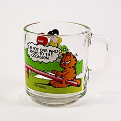 "Garfield Coffee Mug Vintage 1980 Cup McDonalds Jim Davis Anchor Hocking Brand: Anchor Hocking Capacity: 8oz Measures: 3 3/8"" x 3 1/8"" (8.57cm x 7.93cm) Color: Multi-Color Character: Garfield Year: 198"