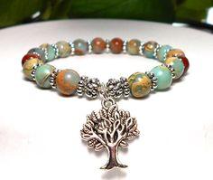 Tree of Life Bracelet Blue Bracelet Yoga by BlueStoneRiver on Etsy, $25.95