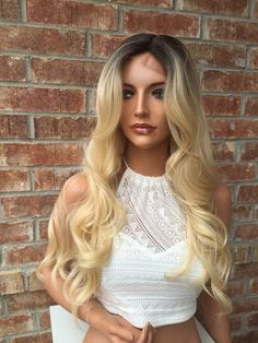 """Natural looking scalp Skin tone silk lace Maximum comfort Rooted Ombre Blonde Human Hair Blend Lace Part Wig 22"""" __________________________________ 