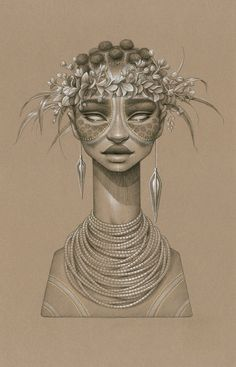Sundust: Striking Charcoal ; These portraits are gorgeous African stylized sun goddesses.  Beautiful.