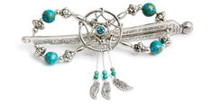 Lilla Rose Inc - Dreamcatcher with colors of turquoise and silver. Delicate little feathers and beads dangle from the hoop center.