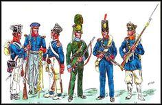 Prussians 1813,(LtoR) 1st bat. 4th Res inf musketier. Landwehr Officer. 4th Res inf tambour. Freiwillige jager Berg Landwehr inf. 13th res Inf reg. East Prussian Landwehr Inf