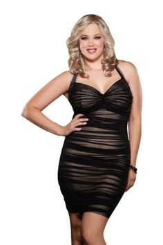 Dreamgirl Women s Plus-Size After Dark Retro Style Halter Illusion Dress 8f1c42a3d