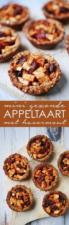 mini gezonde appeltaart met havermout Healthy Cake, Healthy Sweets, Healthy Baking, Healthy Snacks, Vegan Baking, Sin Gluten, Baking Recipes, Dessert Recipes, Good Food