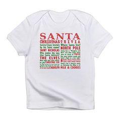 Santa Christmas Trivia Infant T-Shirt. New Christmas shirt design. Tags Keyword: gifts christmas, grandma gifts christmas, hottest gifts christmas 2015, hot gifts christmas 2015, men gifts Christmas, make your own gifts christmas, kids crafts gifts christmas, inexpensive gifts christmas, popular gifts christmas 2015, parents gifts christmas, personalized baby gifts christmas, mothers gifts christmas, quick gifts christmas, railroad train gifts Christmas